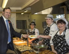 MP Stephen Mosley gets his lunch from the kitchen staff. Photo:Flickr/Cheshirewest