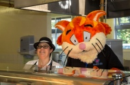 Chester the Dee 106.3 cat serves lunch to the children. Photo:Flickr/Cheshirewest