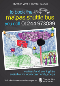 The winning poster that now advertises Malpas shuttle service (Pic: Cheshire West and Cheshire)