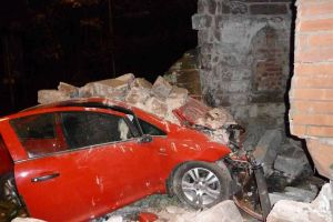The scene of the crash at the Round Tower in Sandiway [Taken from chesterchronicle.co.uk]