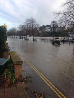 The River Dee breaks its banks earlier today. © Chloe Donley