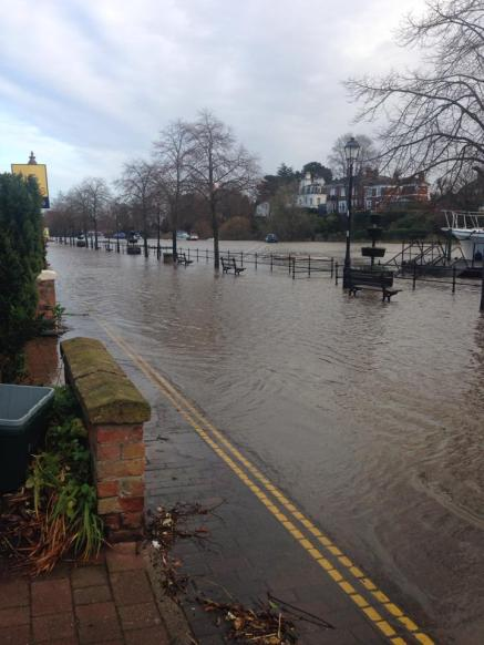 The River Dee breaks its banks earlier today. © Chloe Donley