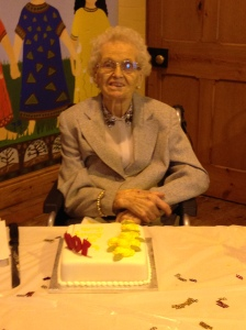 Janette Shaw, at her 100th Birthday. Image by Rebecca Jones