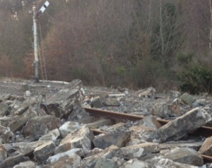The sea wall at Mostyn has fallen onto the railway track. Photo: National Rail