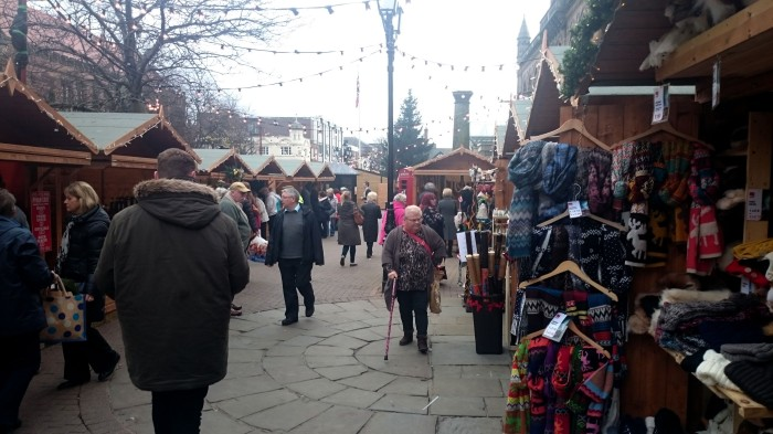 People get in the Christmas mood at this years market ©Peter Thornton