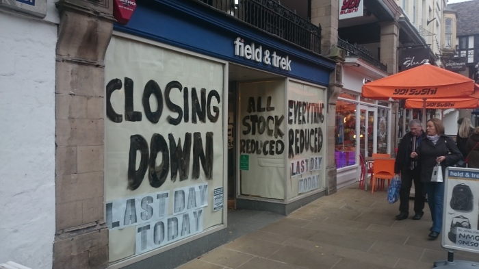 Field & Trek is the latest casualty of Chester's shopping decline. Pic:Peter Thornton