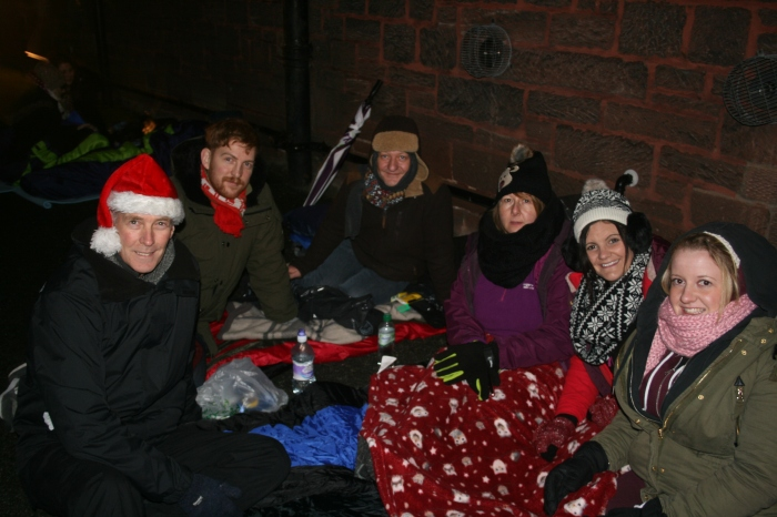 Bridge Foyer workers camped out raising over £600!